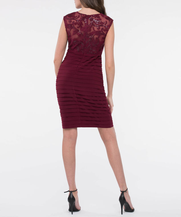 Sleeveless Embroidered Lace & Shutter Pleat Dress, Burgundy, hi-res
