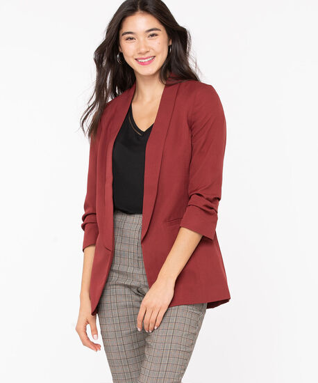 Soft Woven Stretch Open Blazer, Roasted Beet, hi-res