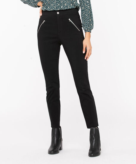 Microtwill Button Front Skinny Leg, Black, hi-res