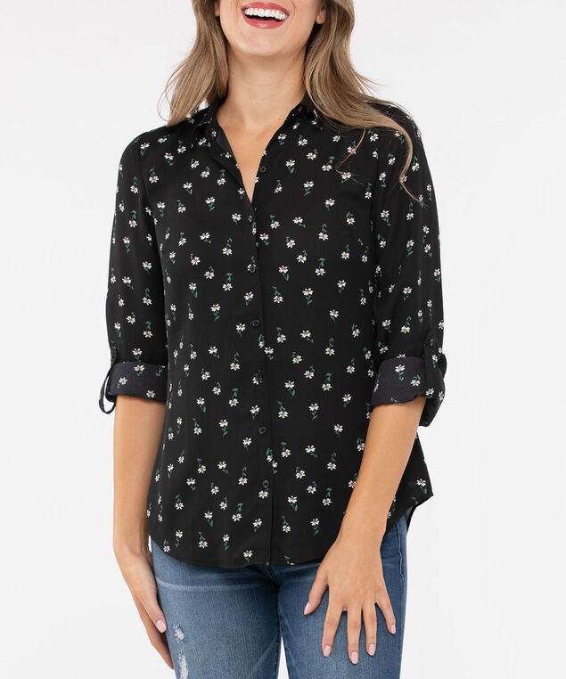 Collared Button Down Blouse, Black/Pearl/Marigold, hi-res