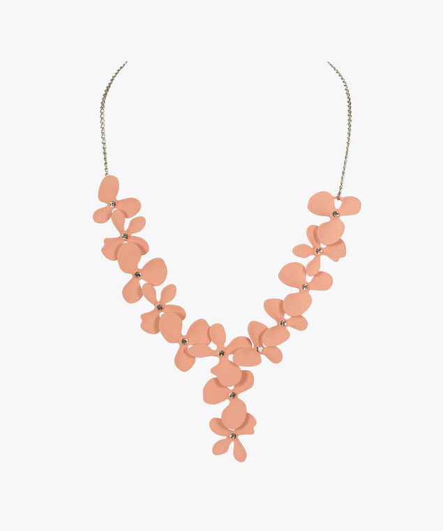 Painted Flower Statement Necklace, Iced Pink/Rhodium, hi-res