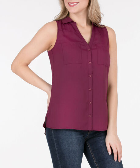 Sleeveless Collared Button-Down Blouse, Black Cherry, hi-res