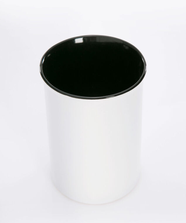 Beautiful Ceramic Brush Holder, True White/Gold/Black, hi-res