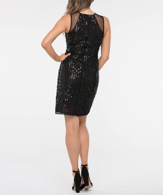 Mesh Insert Sequin Sheath Dress, Black, hi-res