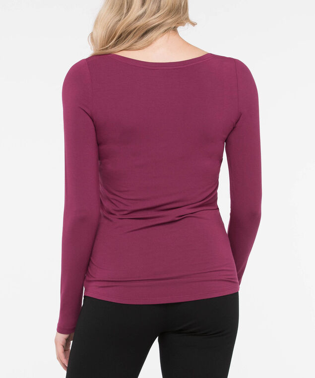 Boatneck Essential Layering Top, Burgundy, hi-res
