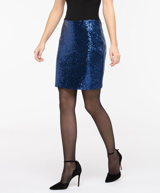Cobalt Sequin Pull On Mini Skirt, Cobalt Sparkle, hi-res