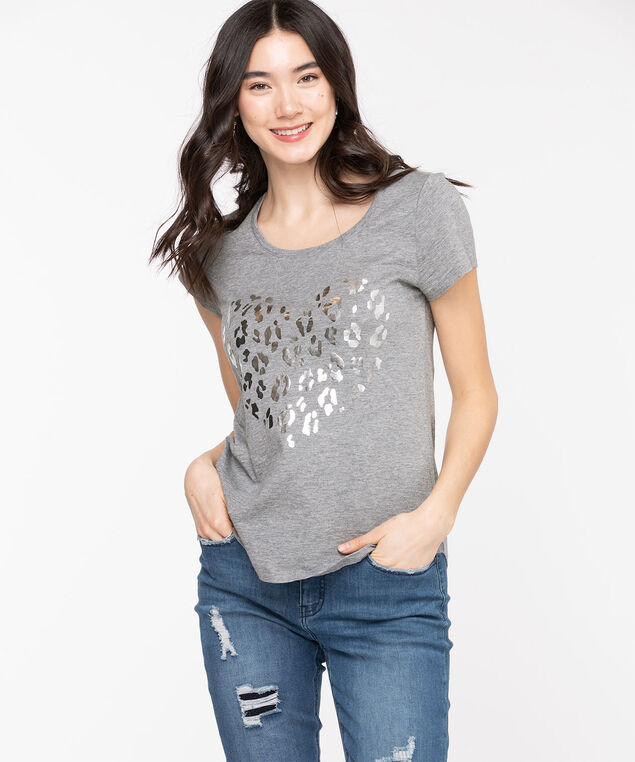 Scoop Neck Shirttail Graphic Tee, Grey/Silver Heart