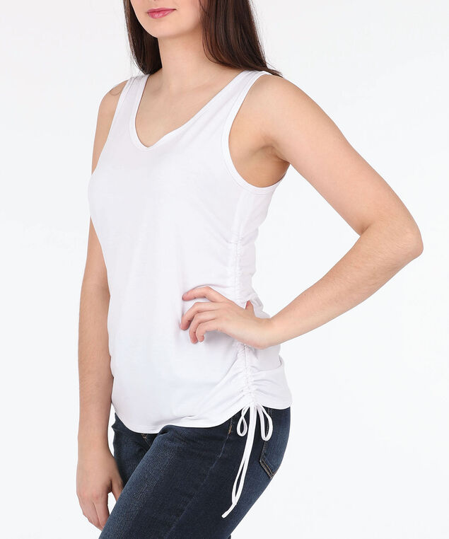 Sleeveless Cross Back Ruched Top, True White, hi-res