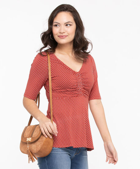 Polka Dot Ruched Front Top, Chili/Pearl, hi-res