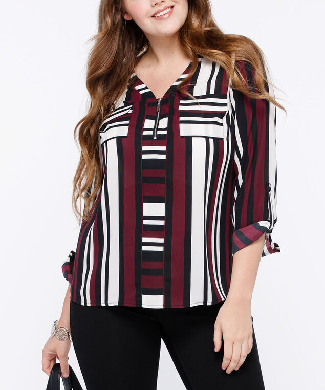 Roll Cuff Henley Blouse, Burgundy/Black/Pearl, hi-res
