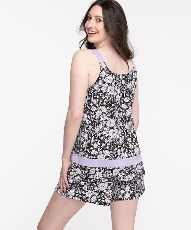 Pajama Short Set, Black/Purple/White Floral