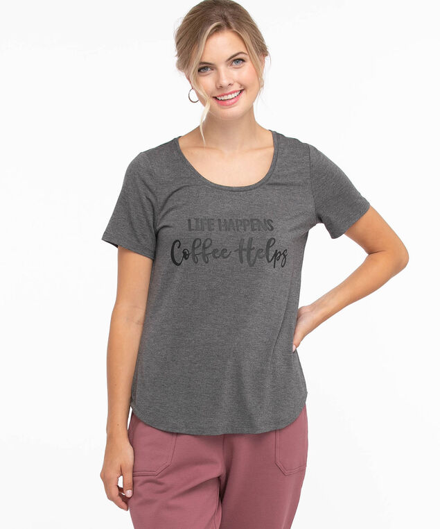 Scoop Neck Shirttail Graphic Tee, Grey/Coffee Helps