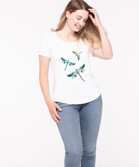 Dragon Fly Graphic Scoop Neck Tee, White, hi-res