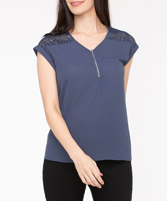 Extended Sleeve Mixed Media Zipper Top, Blue Fog, hi-res