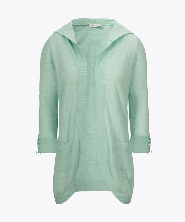 Hooded Roll-Sleeve Cocoon Cardigan, Light Aqua, hi-res