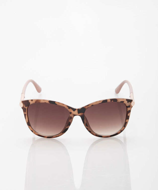 Tortoise Shell Wayfarer Sunglasses, Brown/Taupe/Rose Gold, hi-res