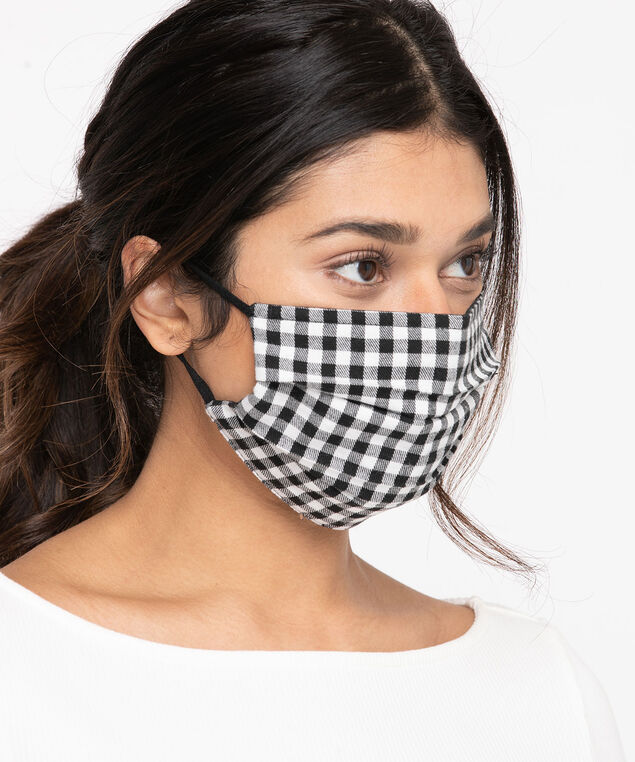 Cotton Face Mask 2-Pack, Black/Black Check