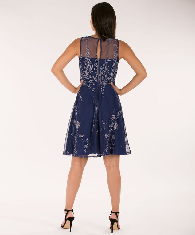 Illusion Neck Embroidered Dress, Deep Sapphire, hi-res