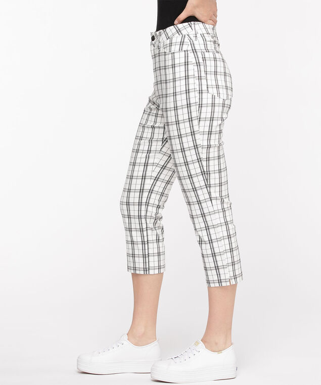 Microtwill Pull-On Crop Pant, White Plaid