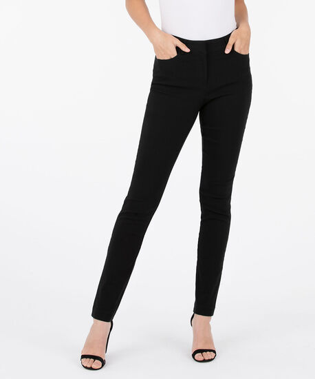 Microtwill Fly Front Slim Leg, Black, hi-res