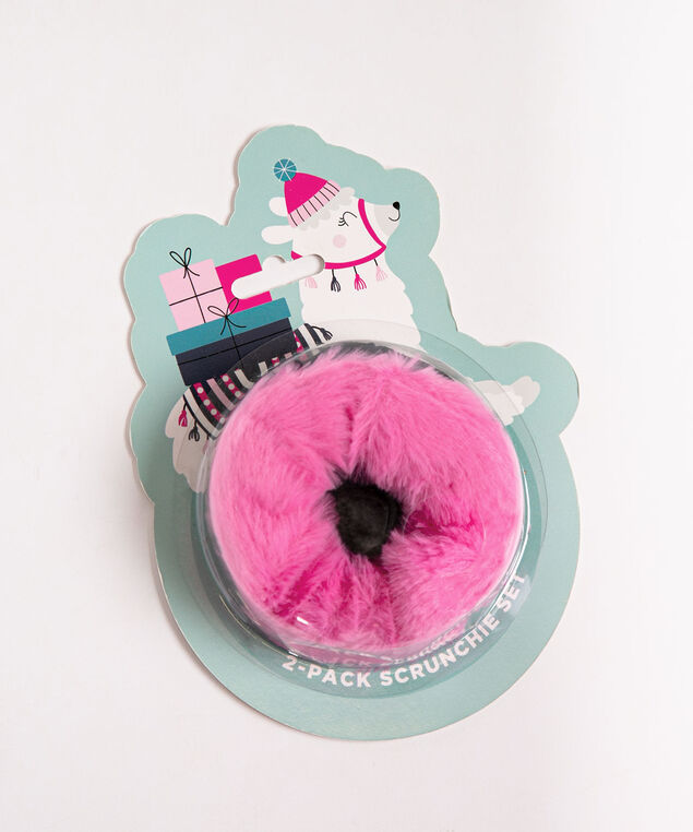 Llama Scrunchie Set, Bright Pink/Black, hi-res