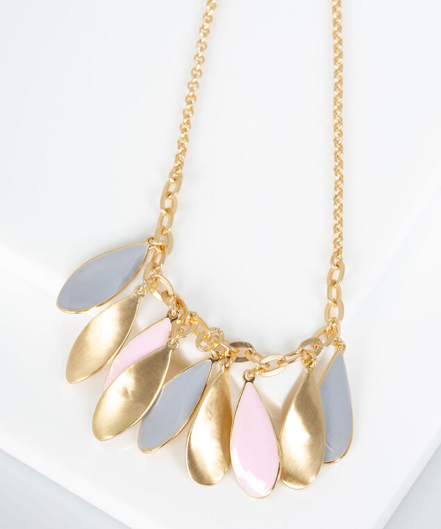 Petal Drop Painted Metal Necklace, Gold/Rose Petal/Grey, hi-res