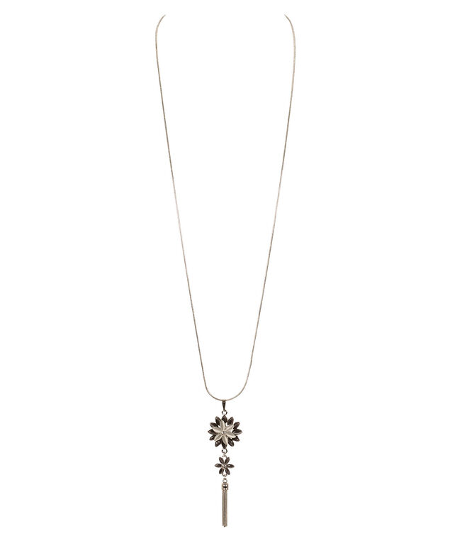 Flower Pendant & Tassel Necklace, Grey/Rhodium, hi-res