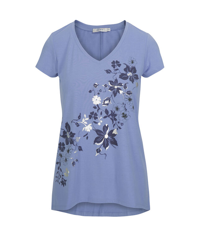 V-Neck Graphic Screen Tee, Blue/Silver, hi-res