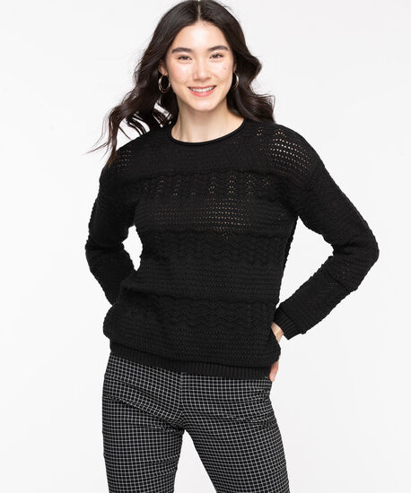 Cotton Pointelle Pullover Sweater, Black, hi-res