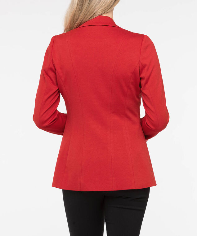 Long Sleeve Knit Boyfriend Blazer, Crimson, hi-res