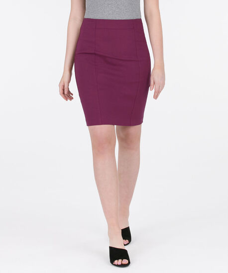 Microtwill Pull-On Pencil Skirt, Black Cherry, hi-res