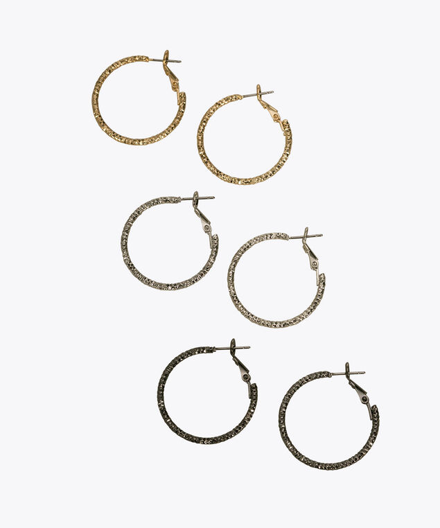 Diamond Cut Hoop Earring Set, Rhodium/Hematite/Soft Gold, hi-res