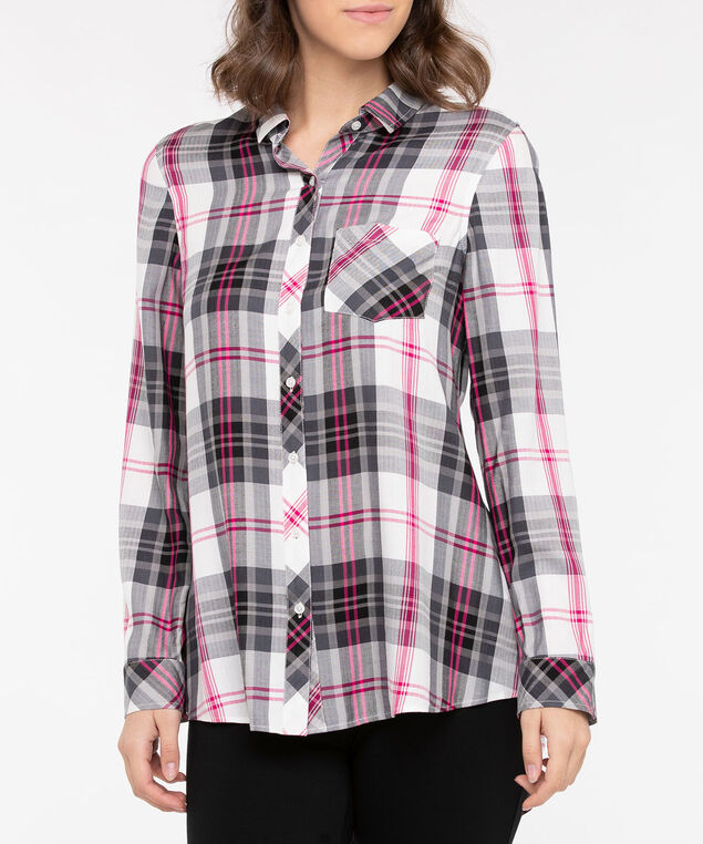 Plaid Button Front Collared Shirt, Black/Bright Pink/Pearl, hi-res