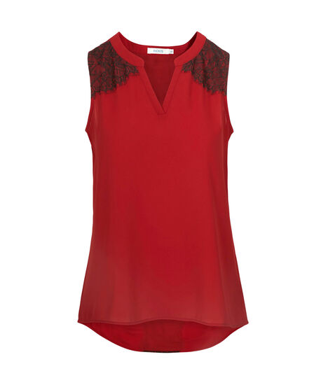 Lace Trim Sleeveless Blouse, Poppy Red, hi-res