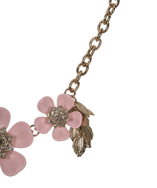 Floral Leaf Cluster Statement Necklace, Iced Pink/Soft Gold, hi-res