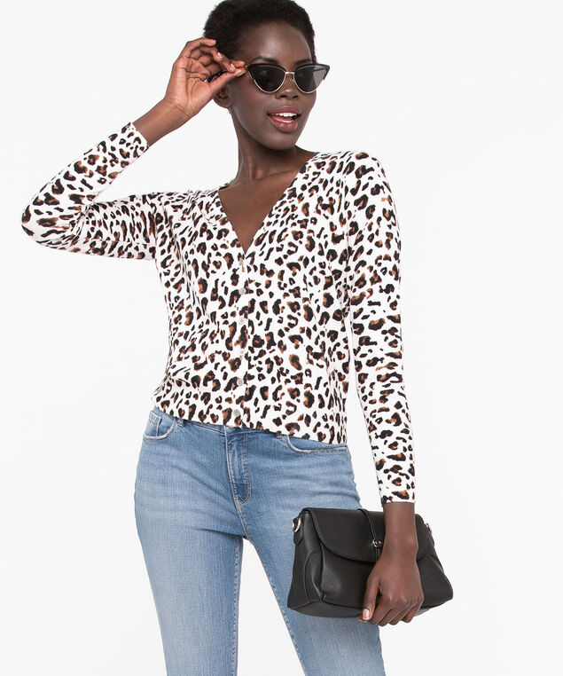 Leopard Button Down V-Neck Cardigan , Ivory/Camel/Black, hi-res