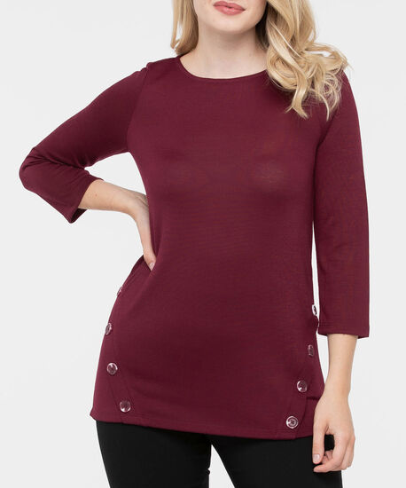 Button Detail 3/4 Sleeve Top, Burgundy, hi-res