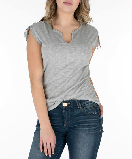 Sleeveless Notch Neck Ruched Top, Heather Grey, hi-res