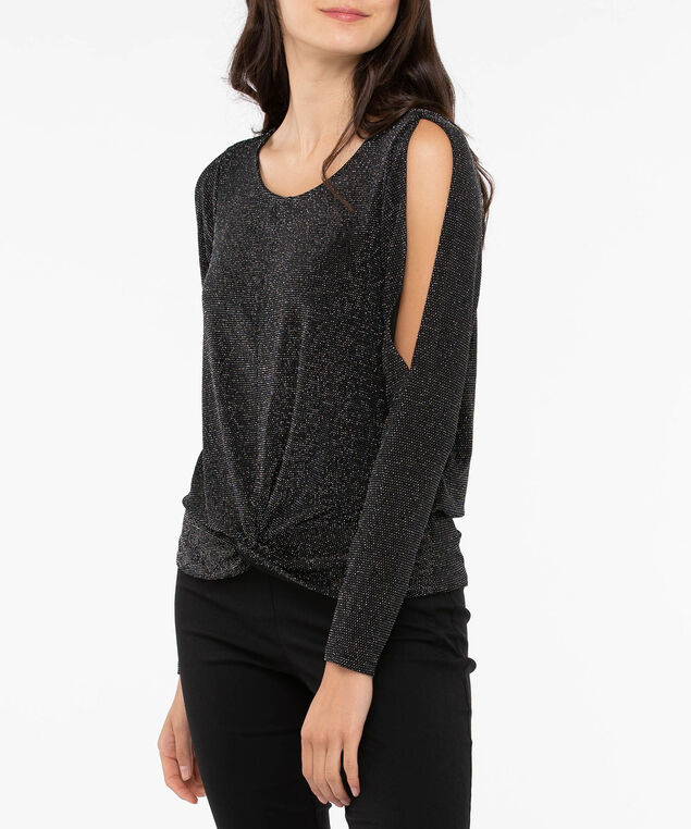 Twist Front Cold Shoulder Glitz Top, Black, hi-res