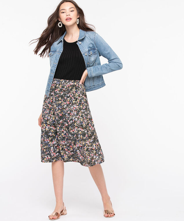 Floral Tiered Skirt, Black/Rose Petal/Blue, hi-res