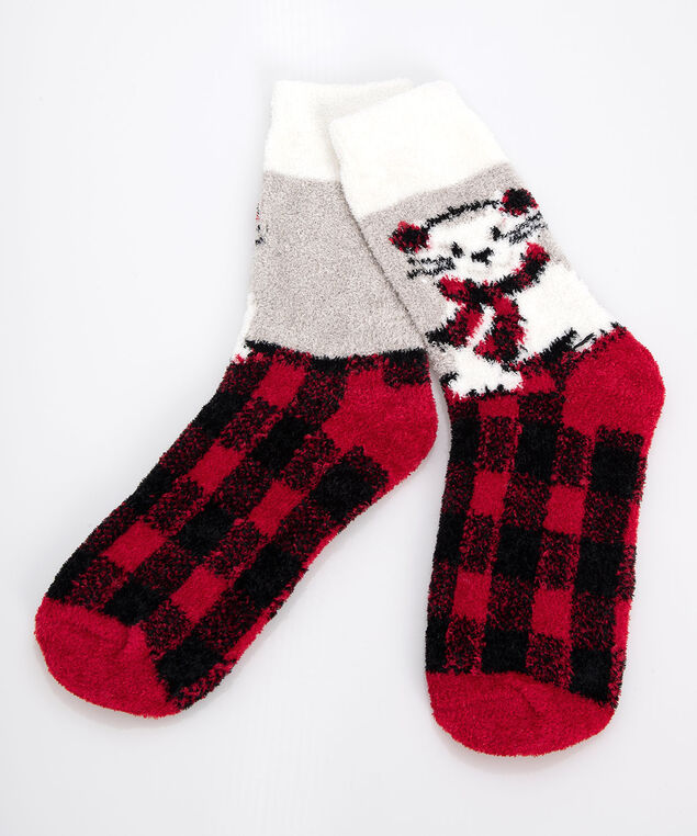 Buffalo Check Cat Plush Socks, Crimson/Black/Pearl, hi-res