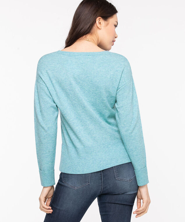 Scoop Neck Pocket Hem Sweater, Reef Waters Mix