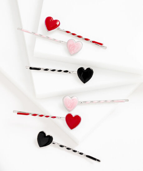 Twisted Heart Bobby Pin 6-Pack, Black/Pink/Red, hi-res