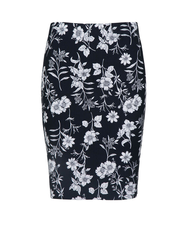 Floral Microtwill Pencil Skirt, Navy/Pearl, hi-res