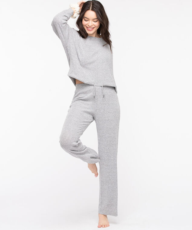Cozy Ribbed Lounge Pant, Light Grey, hi-res