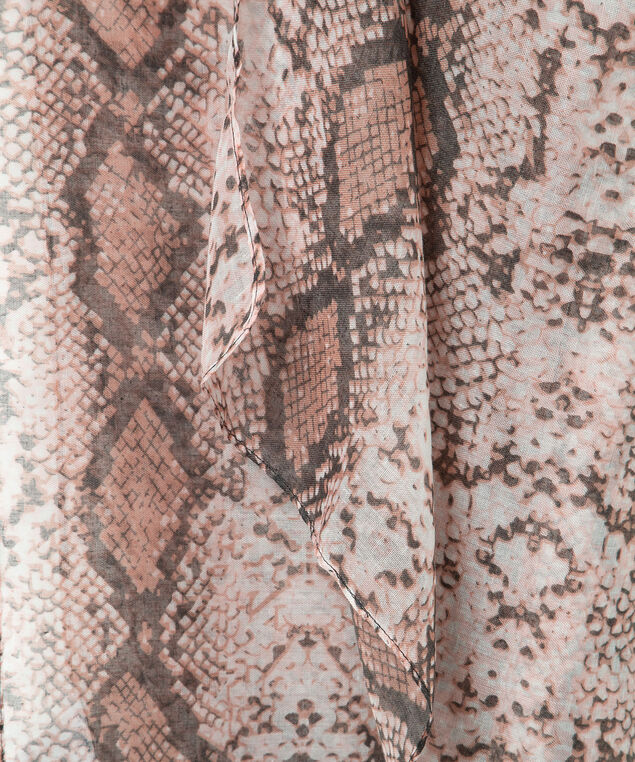 Python Print Oblong Scarf, Dusty Blush/Espresso, hi-res
