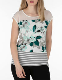 Mixed Print Extended Sleeve Top