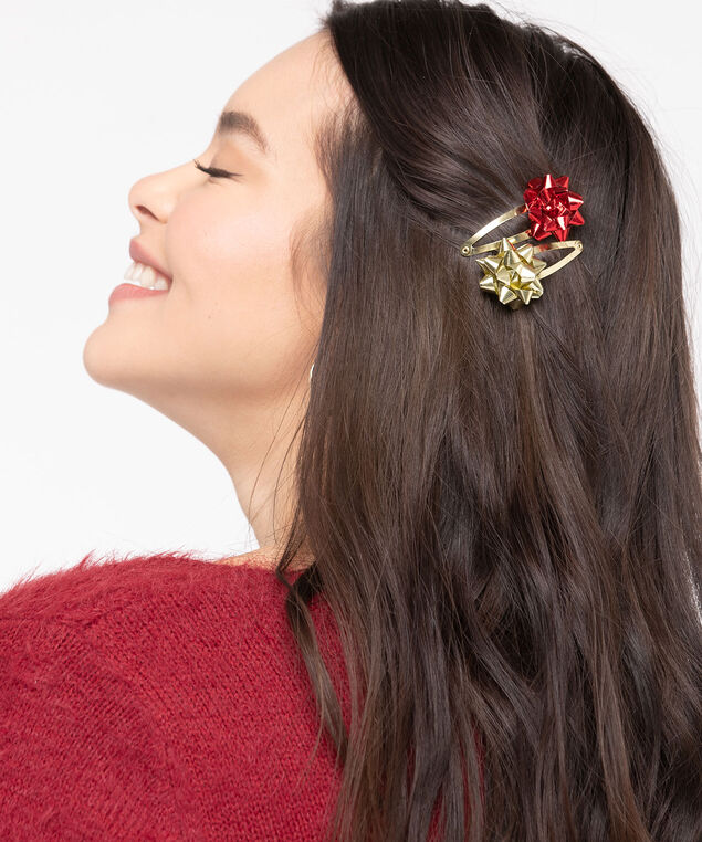 Holiday Bow Hair Clips, Red/Green/Gold, hi-res