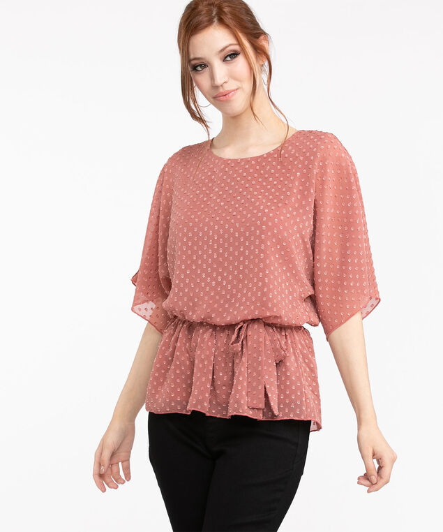 Dolman Sleeve Dotted Peplum Blouse, Champagne Pink