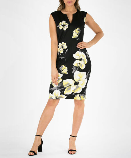 Floral V-Neck Sheath Dress, Black/Yellow, hi-res